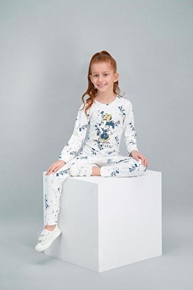 Minnie Mouse Minnie Mouse Lisanslı Krem Kız Çocuk Pijama Takımı Krem